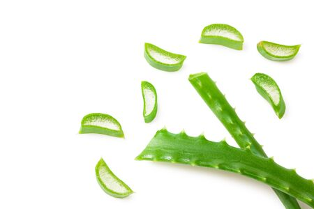 Aloe vera with slices isolated on a white background. Top view.