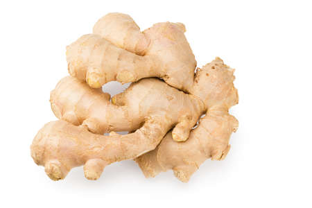 ginger rhizome isolated on white background. Top view