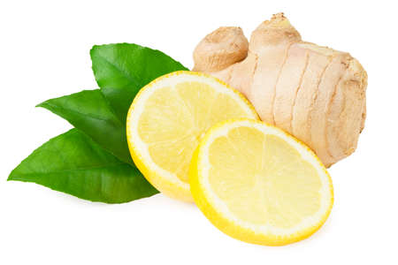 ginger rhizome with lemon isolated on white background. Top view