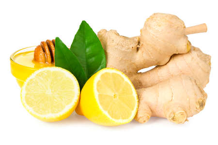 ginger rhizome with lemon and honey isolated on white background. Top view