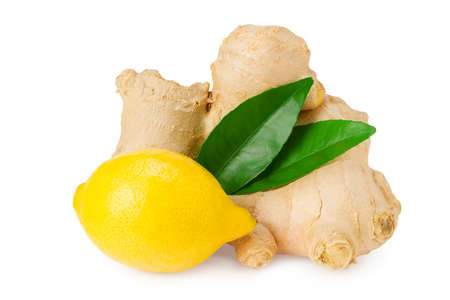 ginger roots with slices, green leaves and lemons isolated on white background