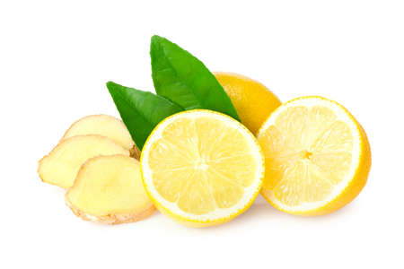 ginger with slices, green leaves and lemons isolated on white background Imagens