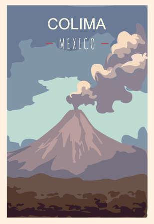 Colima retro poster. Colima travel illustration. States of Mexico greeting card. Vetores