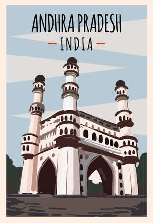 Andhra Pradesh retro poster. Andhra Pradesh travel illustration. States of India greeting card. Charminar Hyderabad.