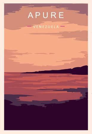 Apure retro poster. Apure travel illustration. States of Venezuela greeting card.