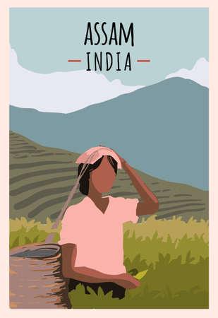 Assam retro poster. Assam travel illustration. States of India greeting card. Girl works on a plantation.