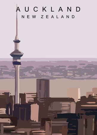 Auckland modern vector poster. Auckland, New Zealand landscape illustration. Travel greeting card.