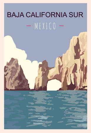 Baja California Sur retro poster. Travel illustration. States of Mexico greeting card. Ilustración de vector