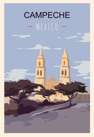 Campeche retro poster. Campeche travel illustration. States of Mexico greeting card.