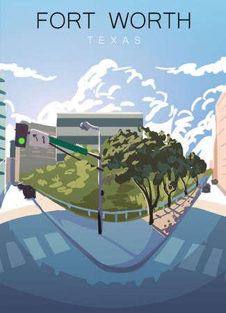 Fort Worth modern vector poster. Fort Worth ,Texas landscape illustration.