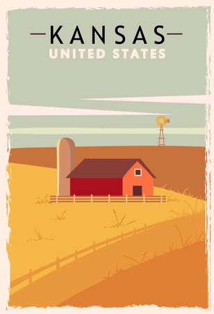 Kansas retro poster. USA Kansas travel illustration. United States of America greeting card. vector illustration. Vektorové ilustrace