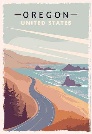 Oregon retro poster. USA Oregon travel illustration. United States of America greeting card. vector illustration. Vetores