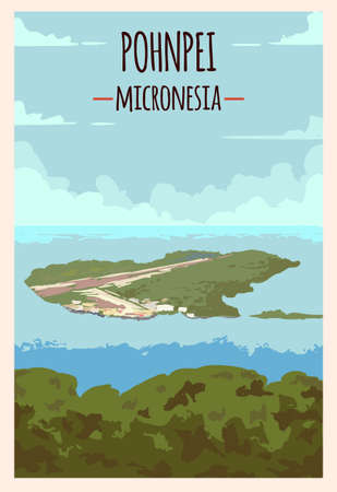 Pohnpei retro poster. Pohnpei island travel illustration. States of Micronesia greeting card.