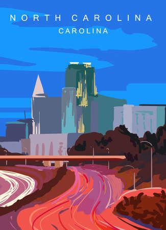 Raleigh modern vector poster. Colorado,