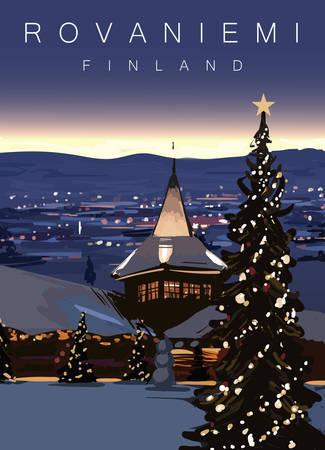 Rovaniemi modern vector illustration. Finland, Rovaniemi city landscape poster. Landscape with Christmas tree.
