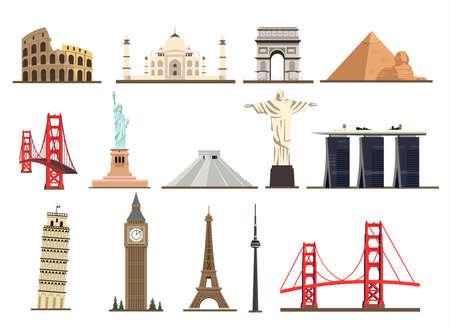 Big set of famous landmarks of the world isolated on white background.