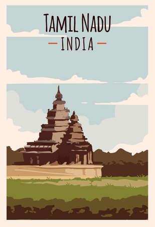 Tamil Nadu retro poster. Tamil-Nadu travel illustration. States of India greeting card.