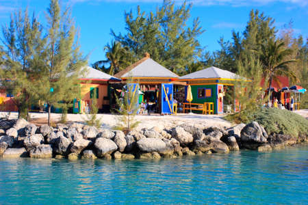Caribbean colorful market huts