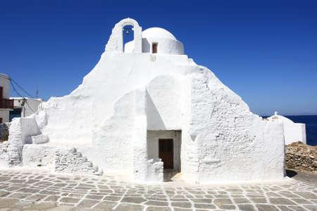 whitewashed: Mykonos white-washed greek orthodox church