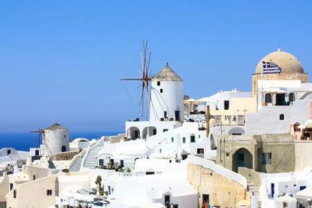 Santorini windmill and village of Oia