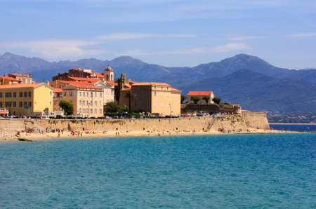 corsica: Ajaccio, Corsica and its beach and city walls