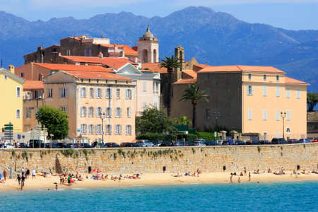 Ajaccio, Corsica and its beach and city walls