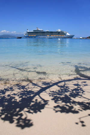 cruise ship in the tropical destination photo