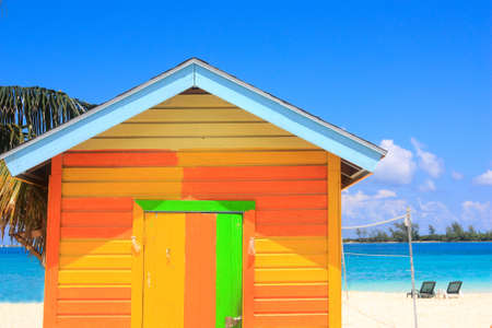 hut: colorful wooden beach hut in the Bahamas Stock Photo