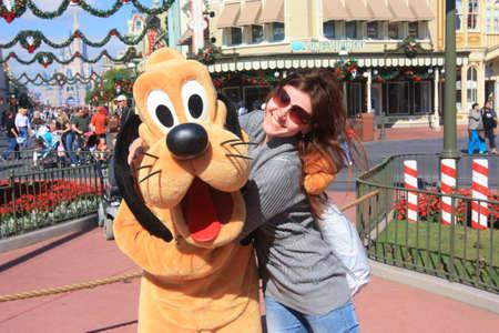 hugging Goofy in Disney World