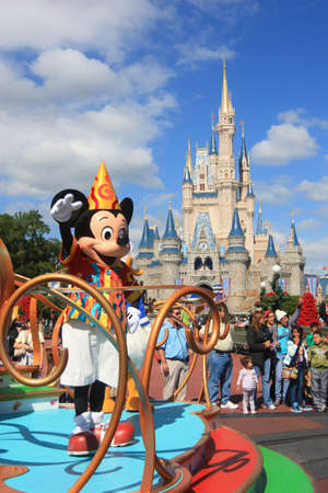 Magic Kingdom castle in Disney World in Orlando and Mickey Mouse Editorial