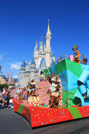 Magic Kingdom castle in Disney World in Orlando and parade