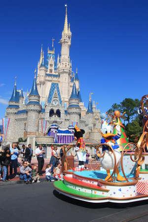 Magic Kingdom castle in Disney World in Orlando and parade Editorial