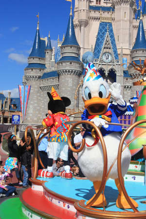 donald: Magic Kingdom castle in Disney World in Orlando and Donald Duck