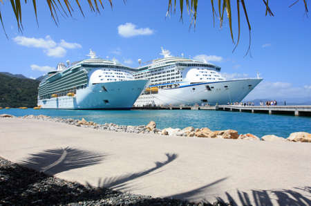 two cruise ships in port in the Caribbean Stock Photo