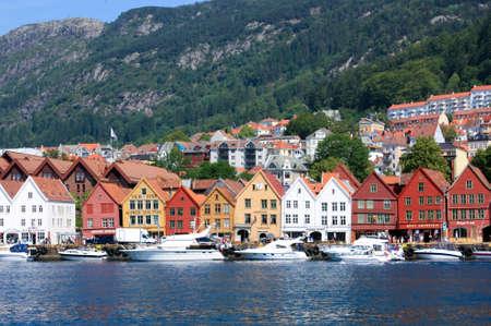 Bryggen waterfront and harbor in Bergen, Norway