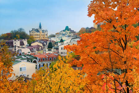 Kiev in autumn - Vozdvizhenka district Stock Photo