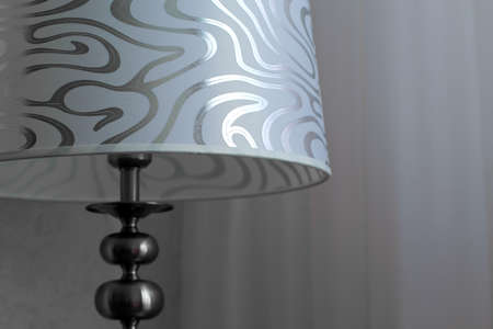 floor lamp: floor lamp with silver and white shade
