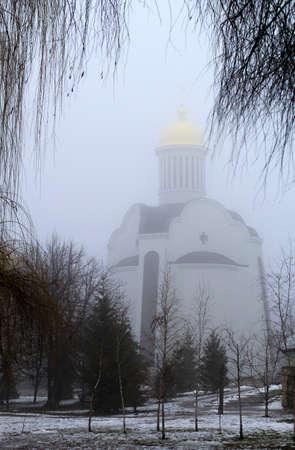 dreary: fog and church