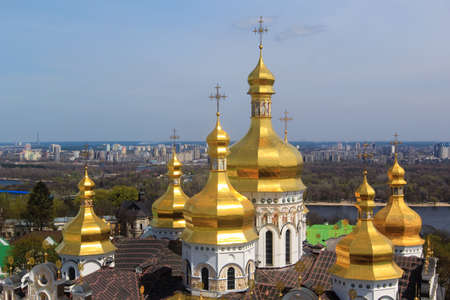 domes: kiev cathedral golden domes Stock Photo