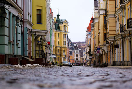 cobblestone: cobblestone street downtown kiev, ukraine