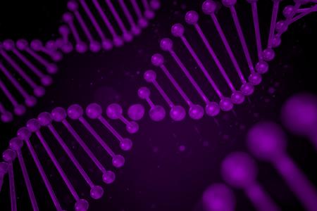 guanine: DNA strand on black background, DNA, 3D illustration