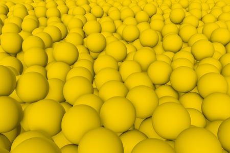 mate: 3d render wall of yellow mate balls set background