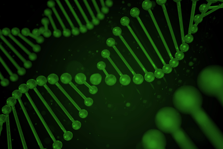dna helix: DNA strand on black background, DNA helix, 3D illustration Stock Photo