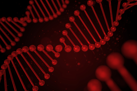 DNA strand on black background, DNA helix, 3D illustration Stock Photo
