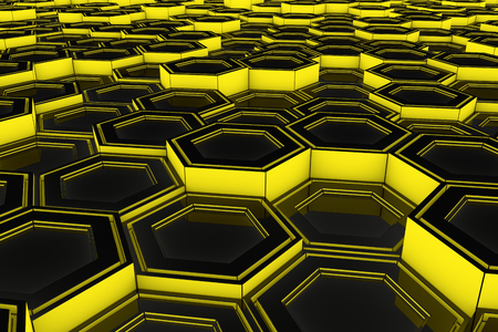 metal net: Abstract industrial background made of glowing hexagons, 3d render illustration Stock Photo