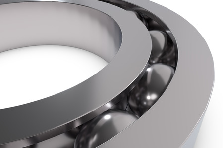 friction: Metal ball bearing isolated on white, 3D render illustration Stock Photo