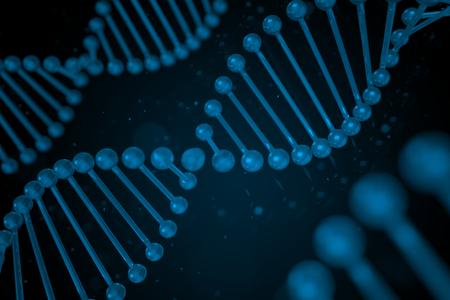 DNA strand on black background, DNA helix, 3D illustration Stock Photo