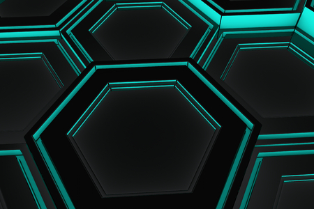 blue steel: Abstract industrial background made of glowing hexagons, 3d render illustration Stock Photo
