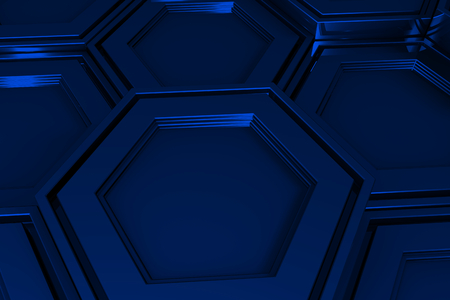 blue steel: Abstract industrial background made of hexagons, 3d render illustration Stock Photo