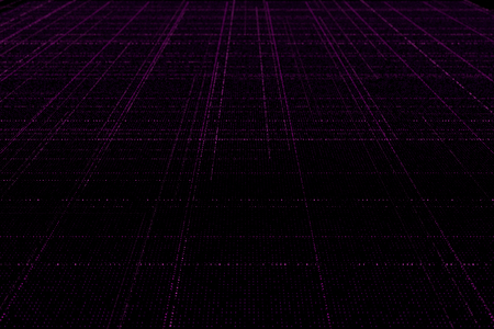abstract digital technology background made of glowing particles in perspective with depth of field, rectangular lines of particles, grid of glowing particles, 3d render illustration Stock Photo